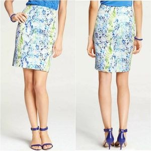 Ann Taylor White Blue Watercolor Pencil Skirt